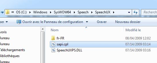 Horloge parlante Windows  : sapi.cpl