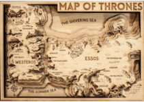 Game of Thrones carte 3D en bois disponible