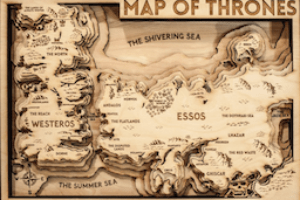 Game of Thrones carte en bois en vente