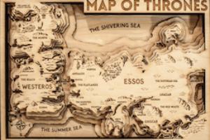 Game of Thrones carte en bois en vente