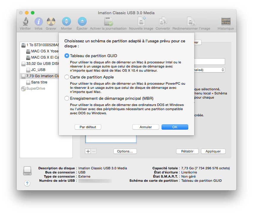el capitan bootable tableau de partition GUID