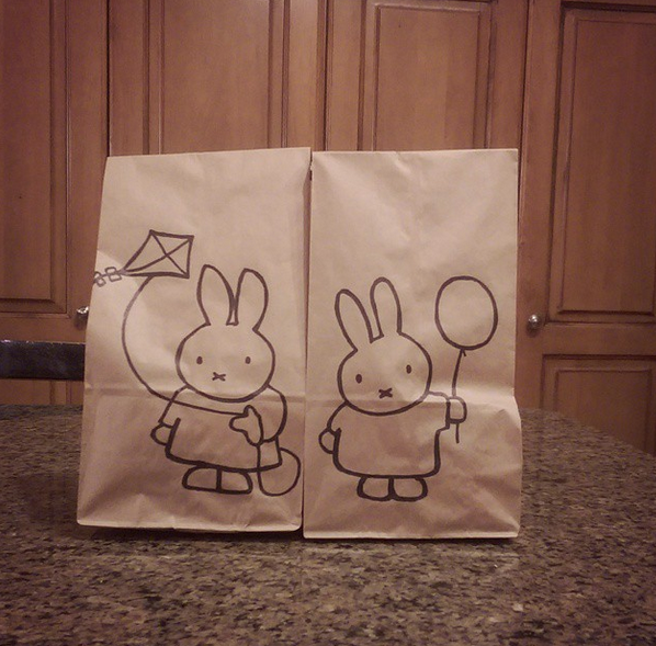 lunch bag art kitty