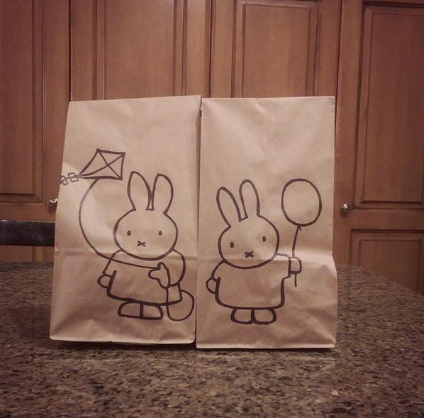 lunch bag art kitty