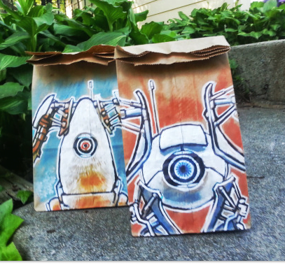lunch bag art : robots