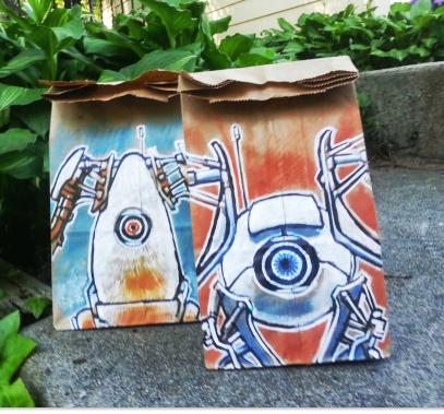 lunch bag art : robots