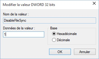 Desactiver OneDrive Windows 10 regedit disablefilesync