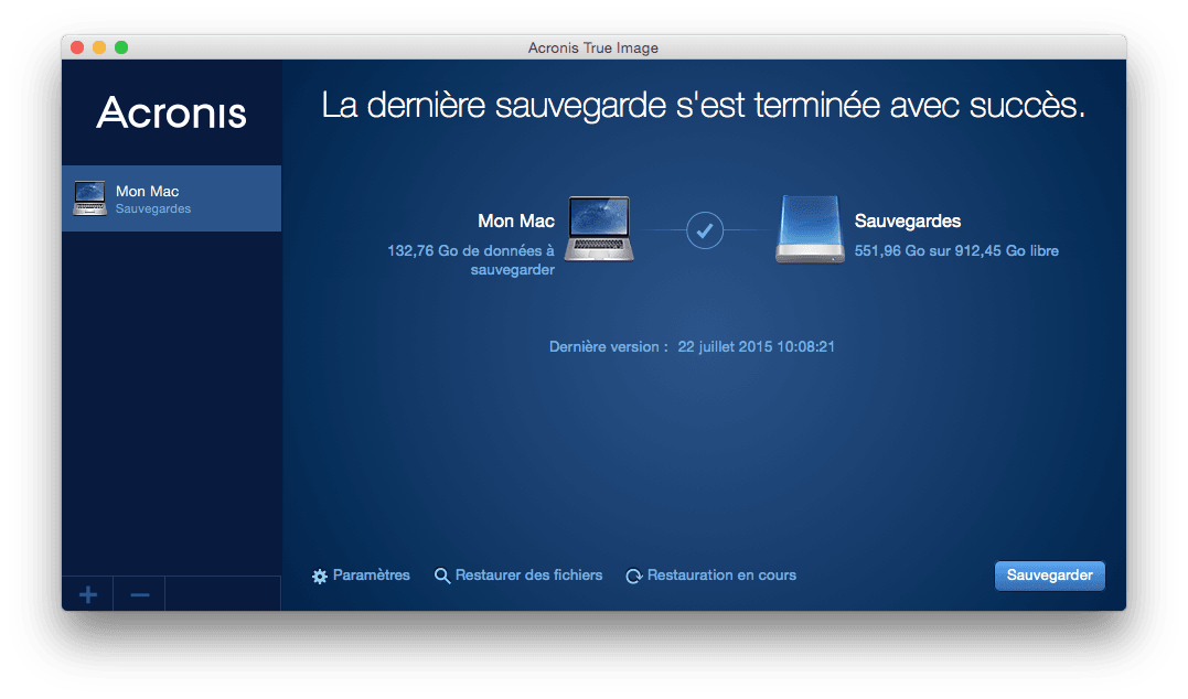 Sauvegarder son Mac acronis true image