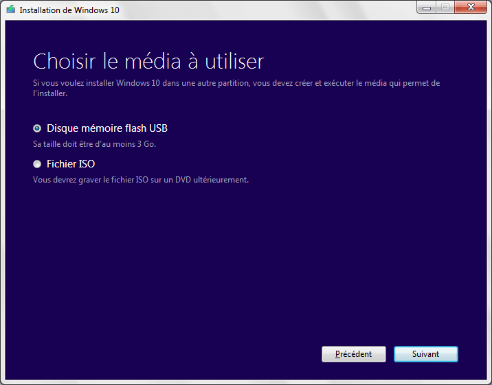 installer Windows 10 creation dvd usb