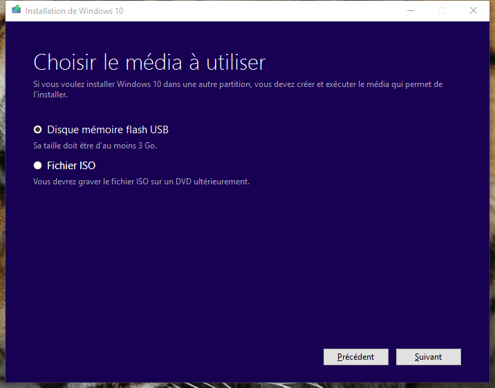 usb windows 10 choisir le media
