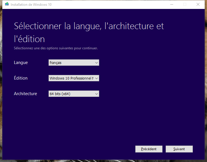 usb windows 10 langue edition architecture