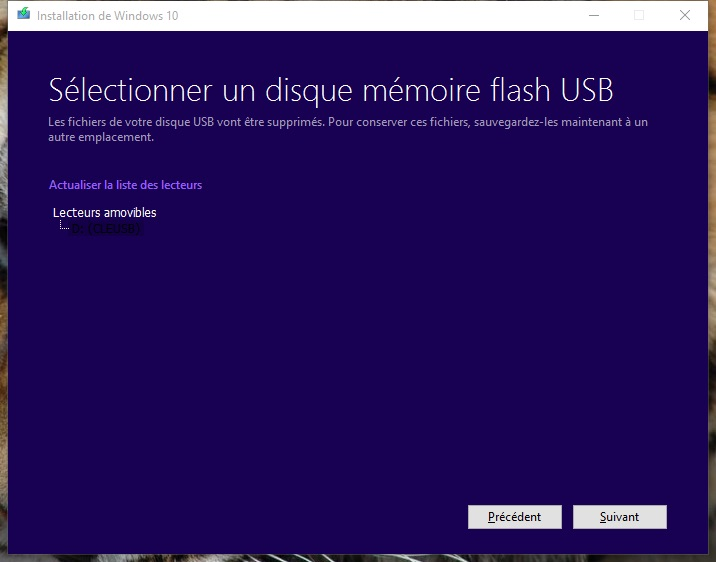 usb windows 10 selectionner un disque memoire flash usb