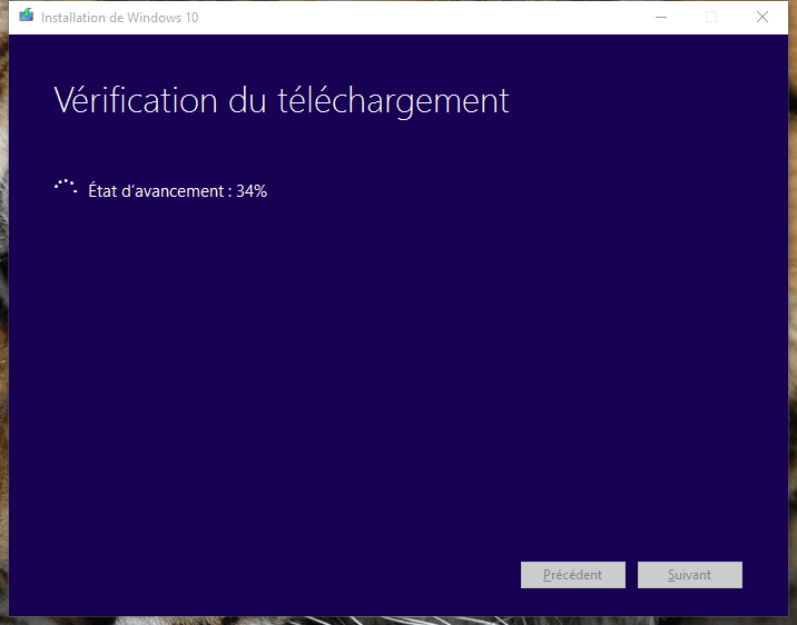 usb windows 10 verification du telechargement