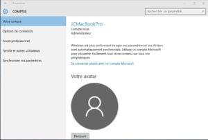 Windows 10 vie privee compte local