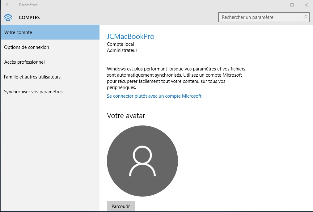 Windows 10 vie privee compte local