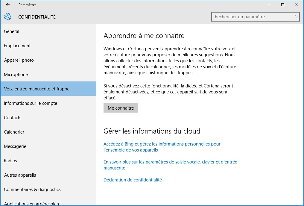 windows 10 vie privee Cortana