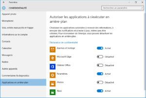 windows 10 vie privee applications en arriere plan