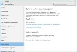 windows 10 vie privee autres appareils