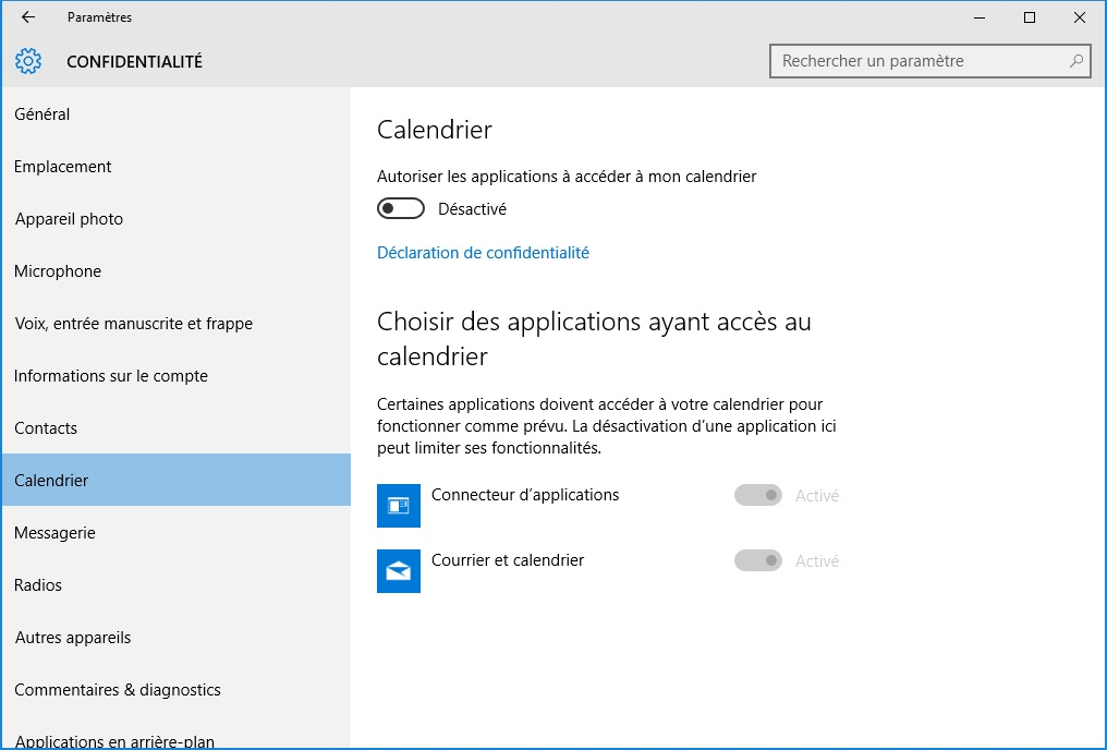 windows 10 vie privee calendrier