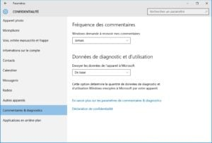 windows 10 vie privee commentaires et diagnostics
