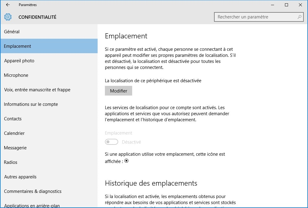 windows 10 vie privee emplacement