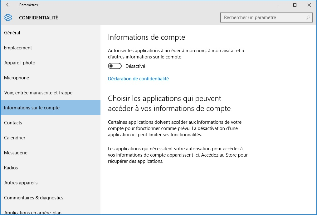 windows 10 vie privee informations sur le compte