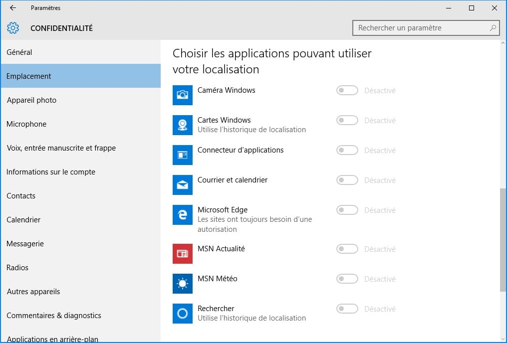 windows 10 vie privee localisation