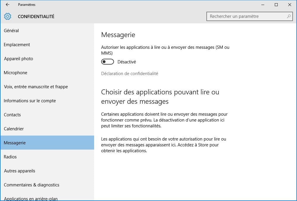 windows 10 vie privee messagerie