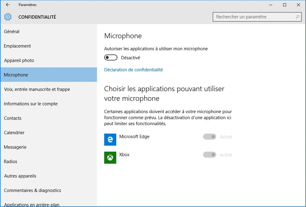 windows 10 vie privee microphone