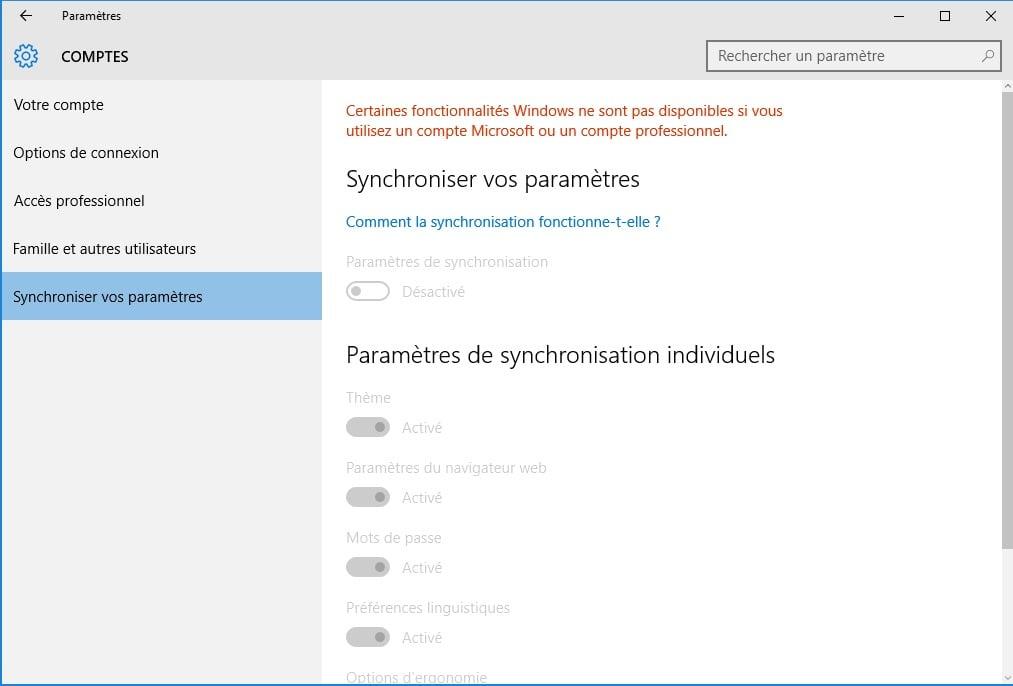 windows 10 vie privee synchroniser vos parametres