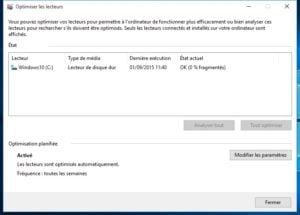 Defragmenter Windows 10 fin