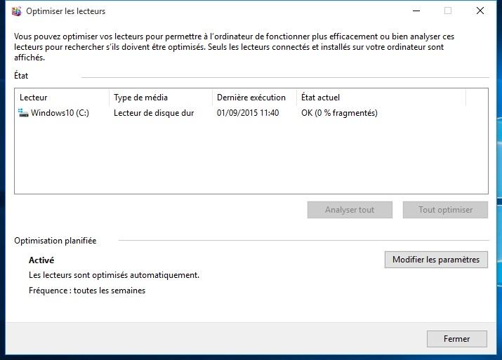 Defragmenter Windows 10 fin