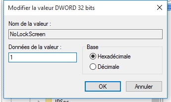 Desactiver lecran de verrouillage Windows 10 activer avec 1