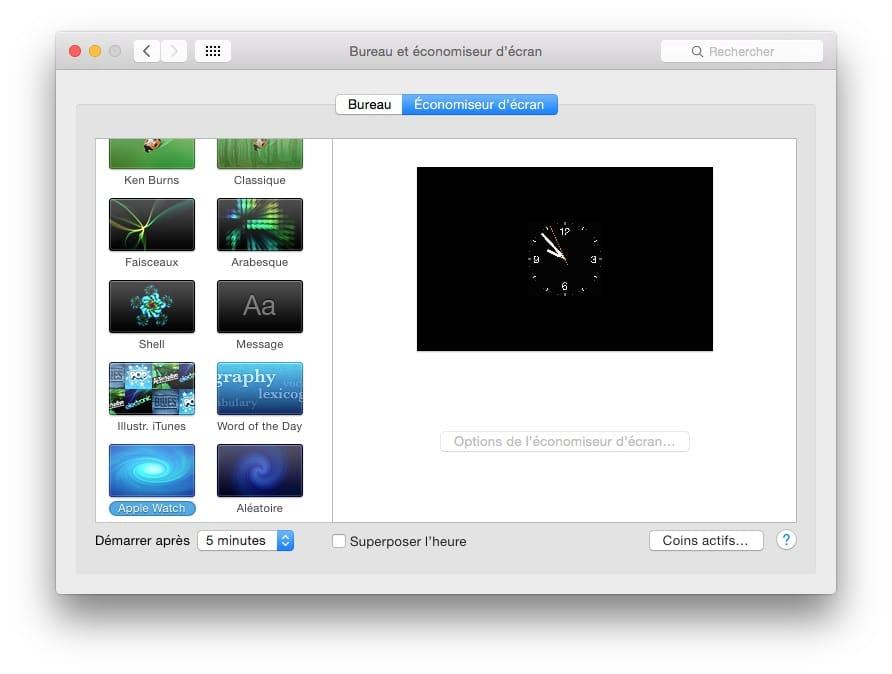 apple watch ecran de veille pour macOS