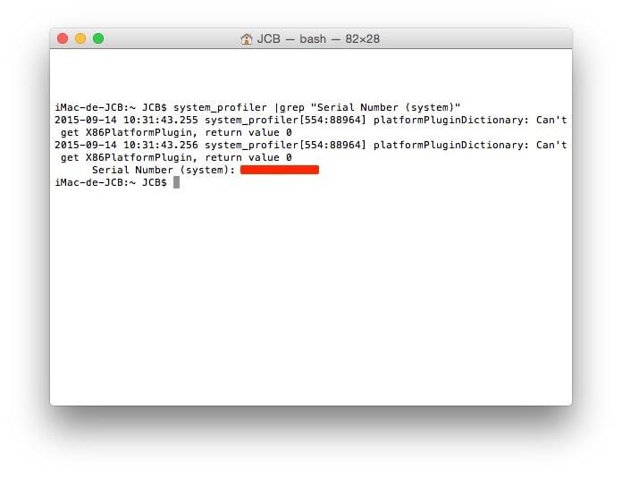 numero de serie mac terminal