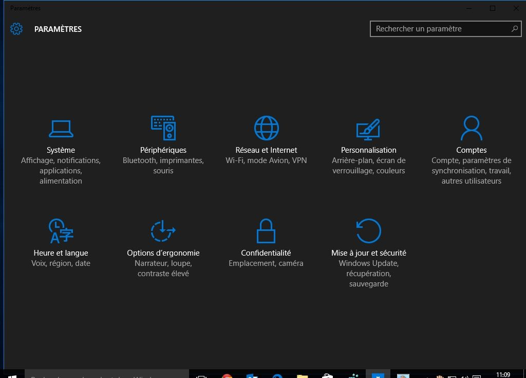 Theme sombre Windows 10 actif