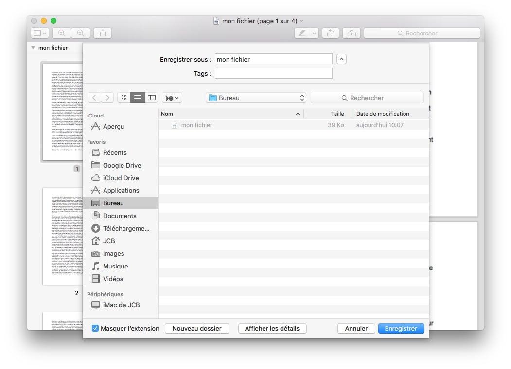 pdf sur mac afficher les details