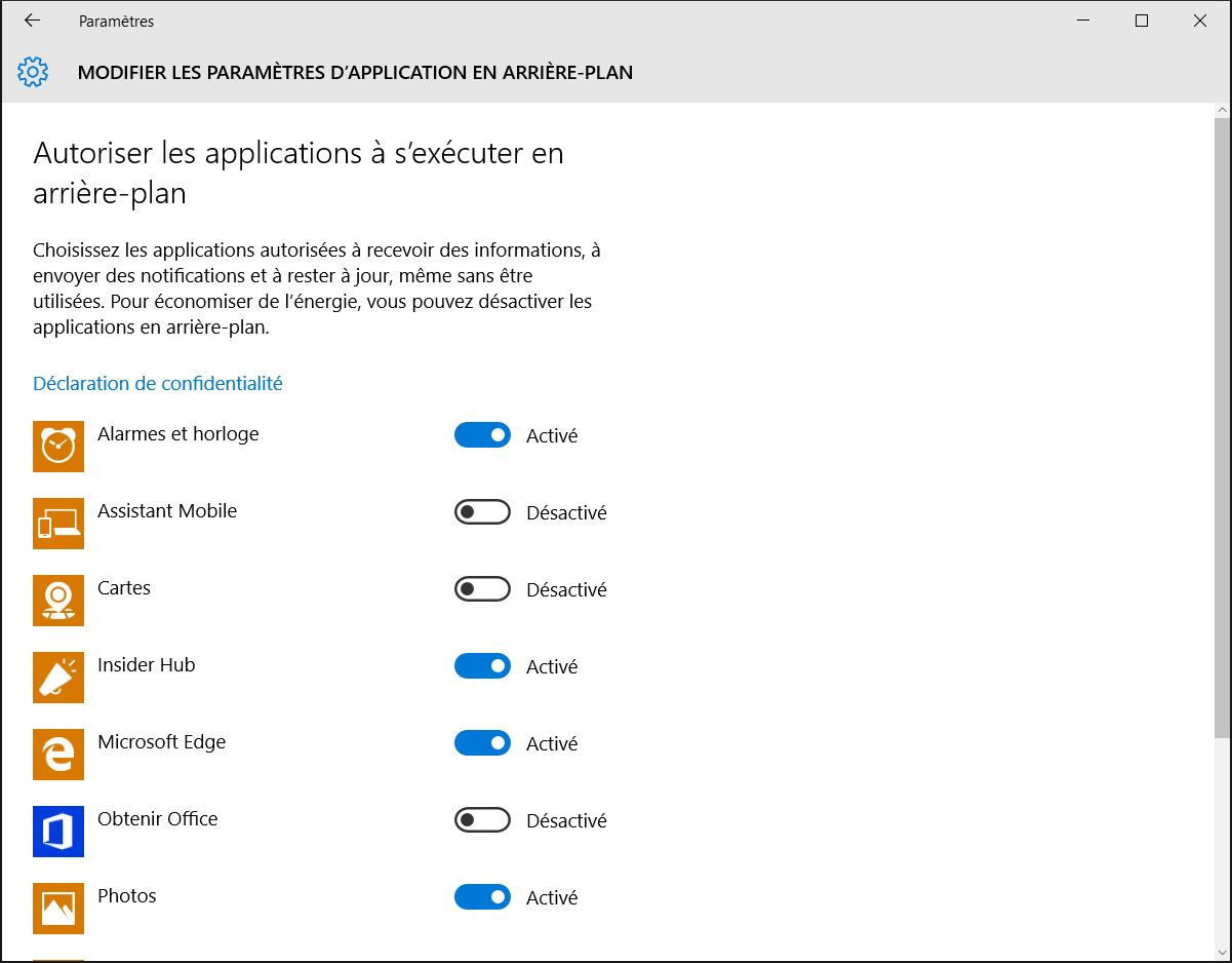 accelerer windows 10 modifier application en arriere plan