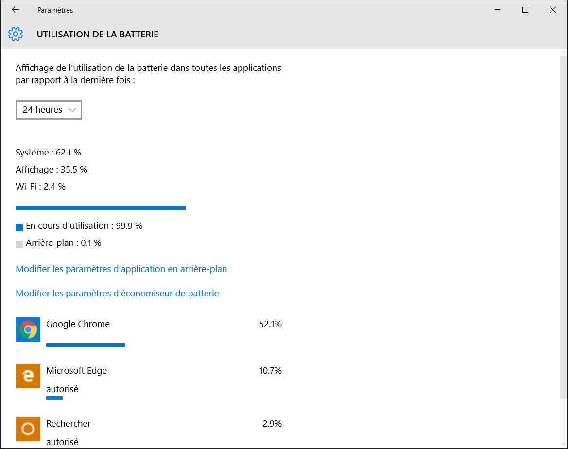 accelerer windows 10 utilisation batterie