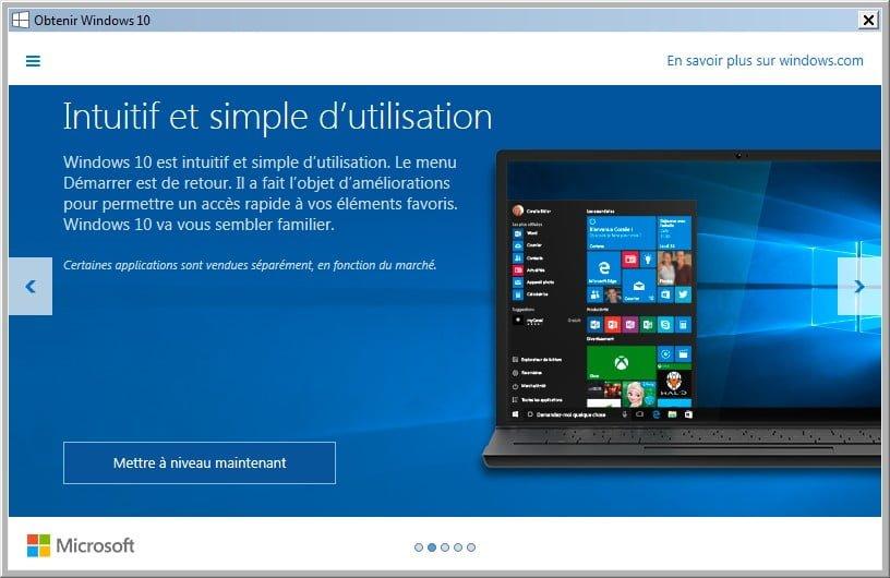 obtenir windows 10 ne pas mettre a niveau