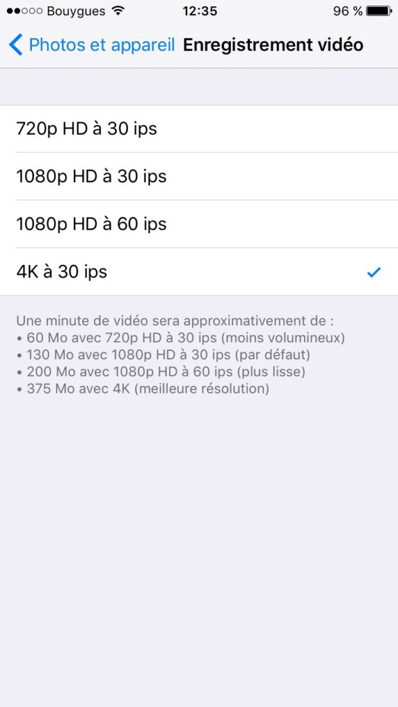 filmer en 4K avec un iphone 4k 30 ips