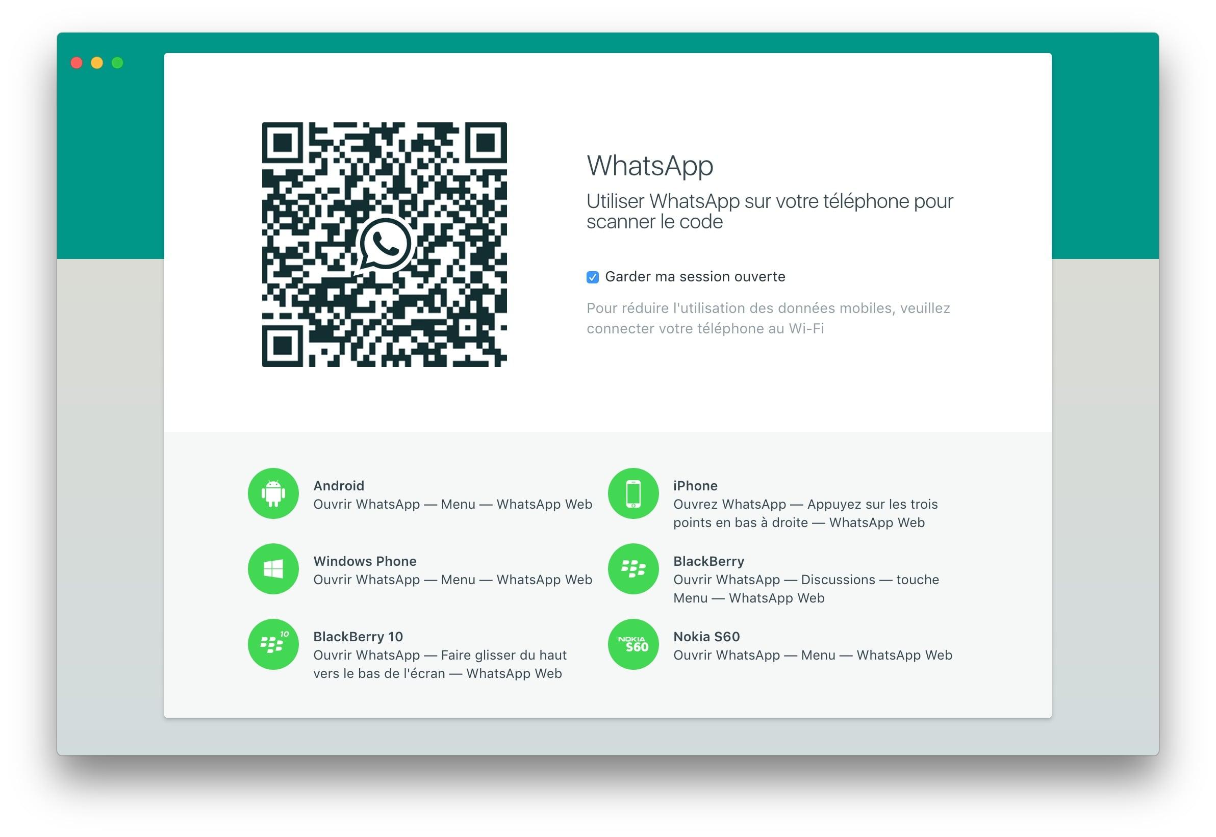 WhatsApp Mac scanner le code