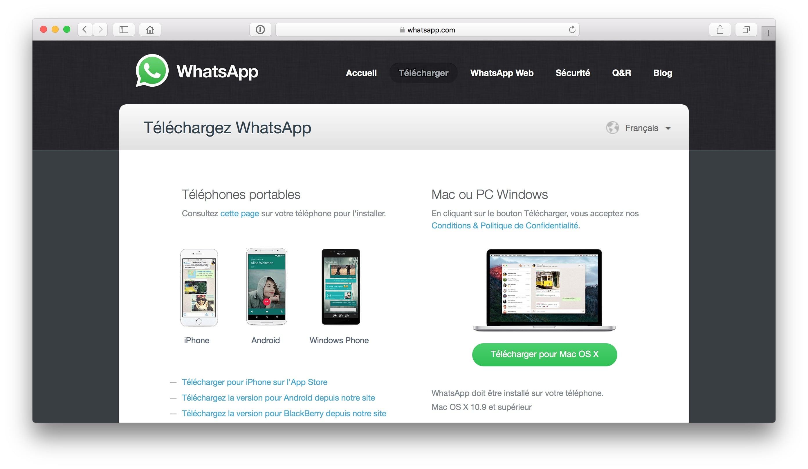 WhatsApp Mac telecharger