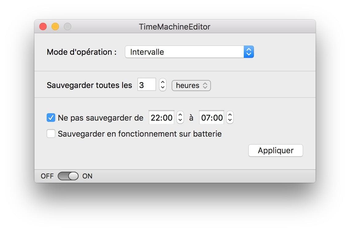 programmer time machine avec TimeMachineEditor