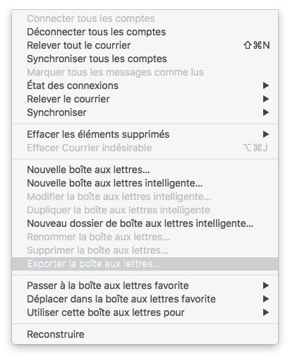 Exporter les courriers Apple Mail exporter la boite aux lettres