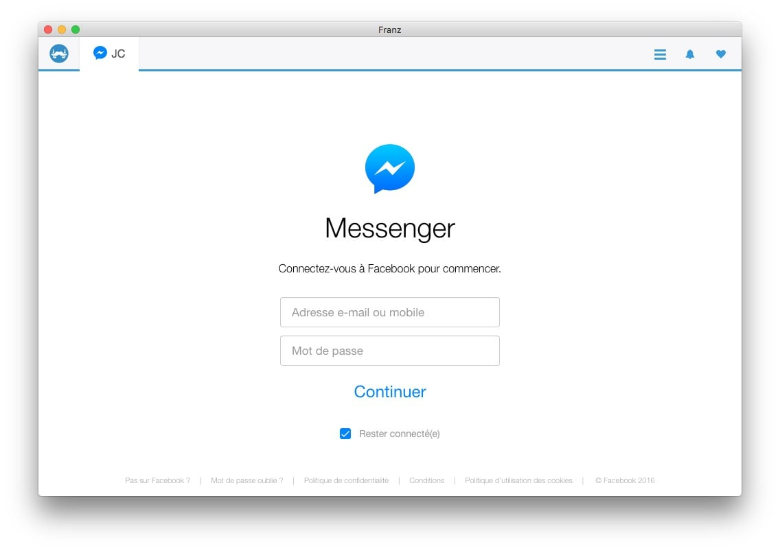 franz facebook messenger configuration
