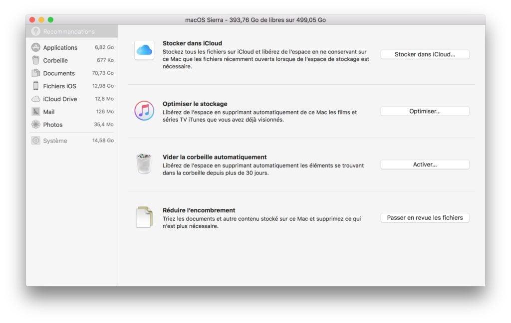 Espace de stockage macOS Sierra recommandations