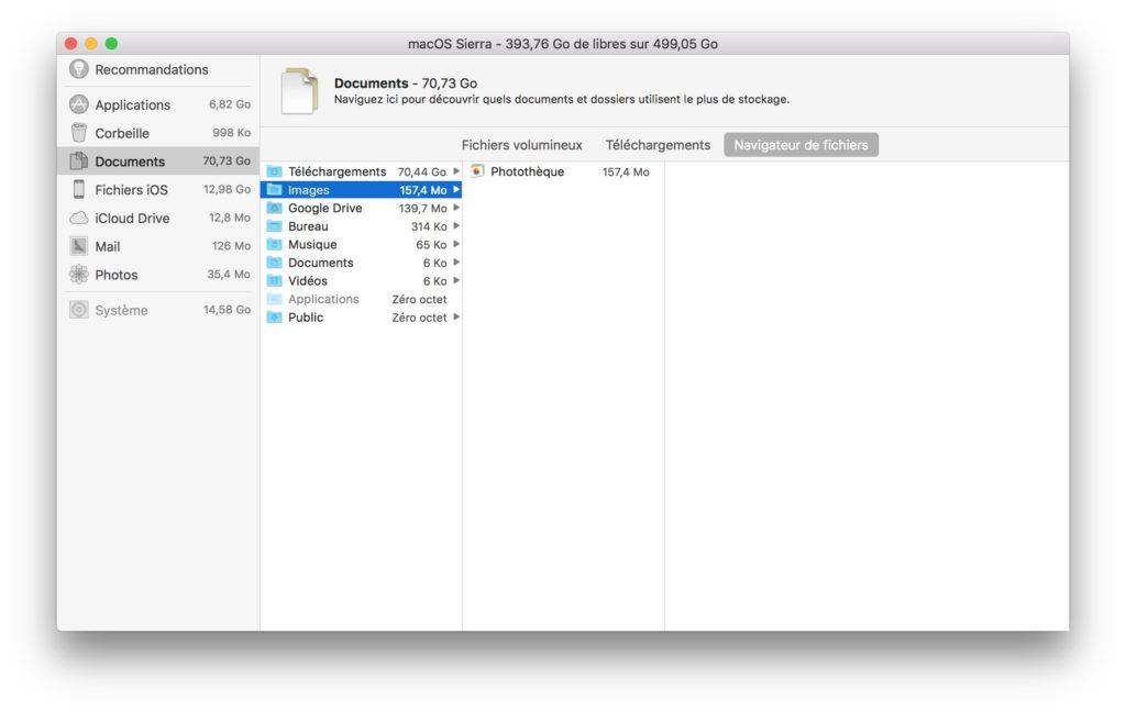 Espace de stockage macOS Sierra reduire encombrement