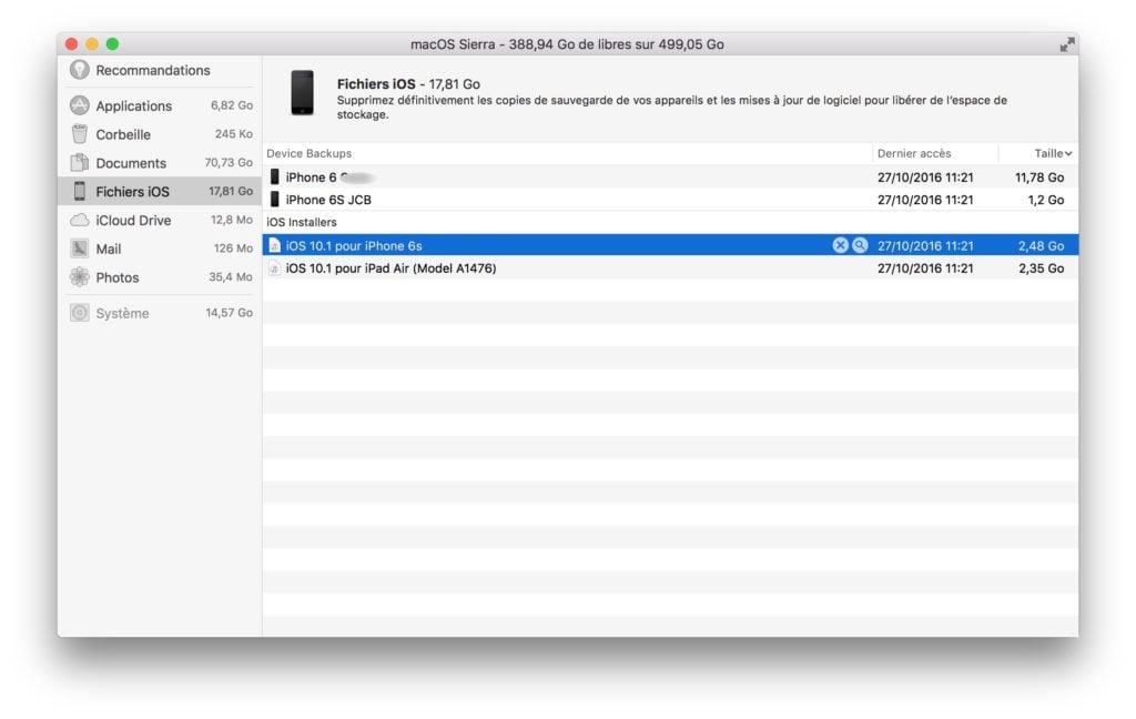 Espace de stockage macOS Sierra supprimer fichiers encombrants
