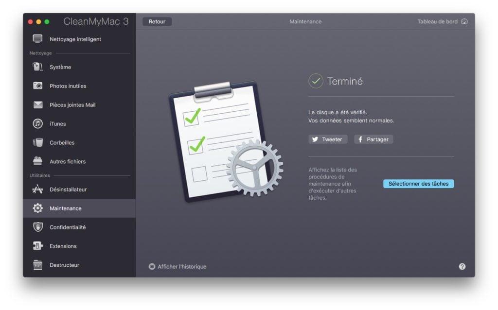 Reparer les permissions macOS Sierra avec cleanmymac