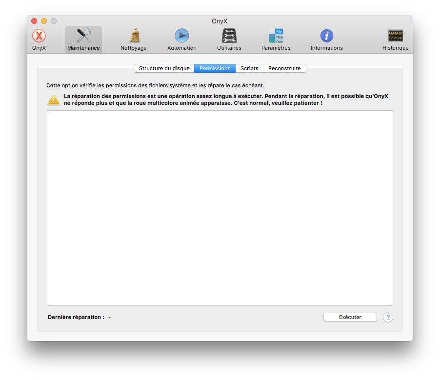Reparer les permissions macOS Sierra onyx